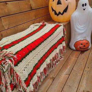 Vintage Christmas colored crochet afghan blanket